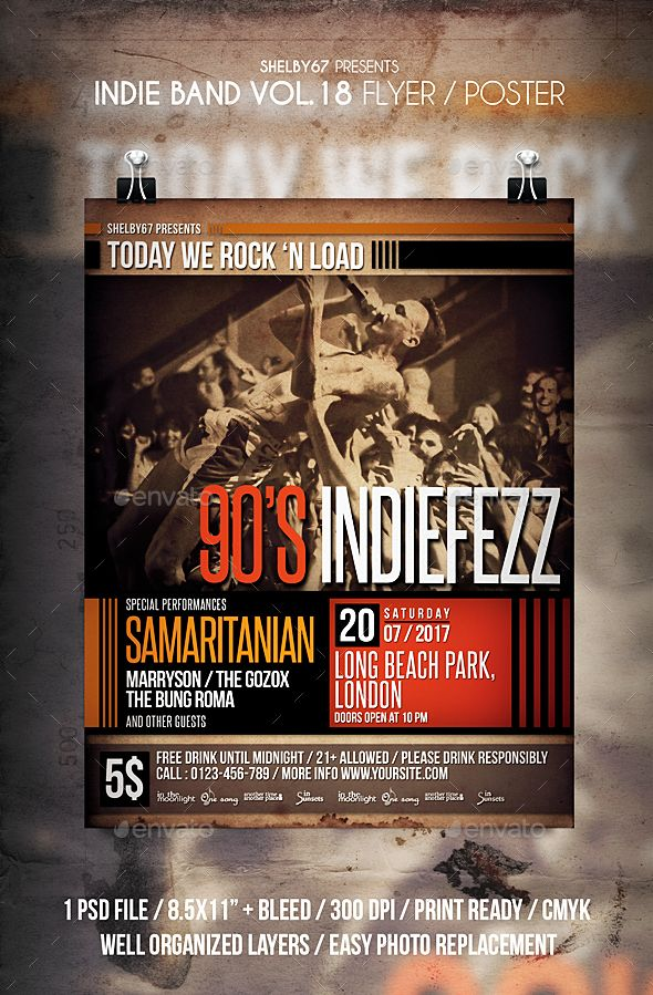 Indie Band Flyer \/ Poster Vol 18 Indie and Flyer template - band flyer template