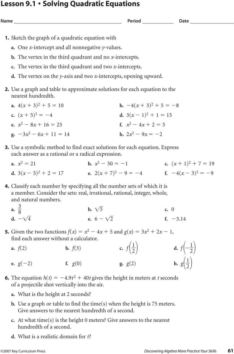 7 solving Quadratic Equations by Factoring Worksheet