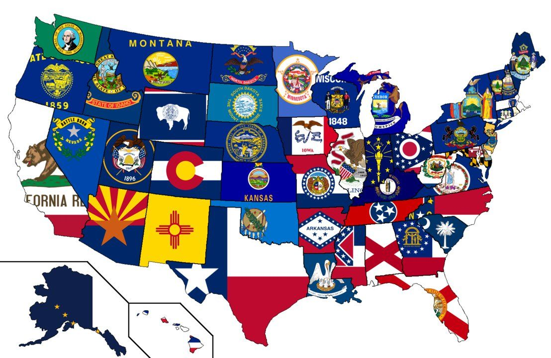 Us State Flags Map United States   Flag Map by HeerSander on deviantART   Us states