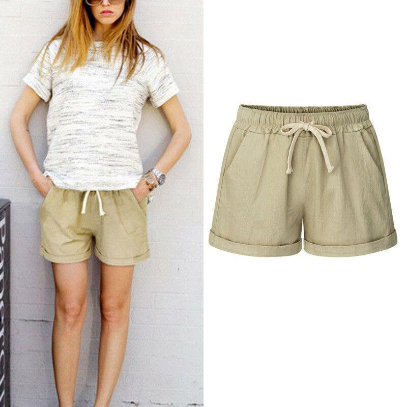 Women/'s Loose Shorts Trousers Summer Beach Drawstring Waist Hot Pants Plus Size