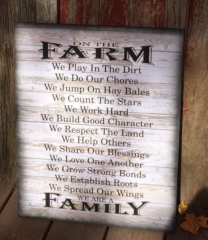 On the farm farm rules wood sign canvas wall art farmhouse decor