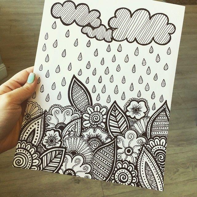 Silly doodles ☁️☔️🍂 #doodle #zentangle #zendoodle #draw #drawing #artist #artwork #ink #mandala #tat... #yooying