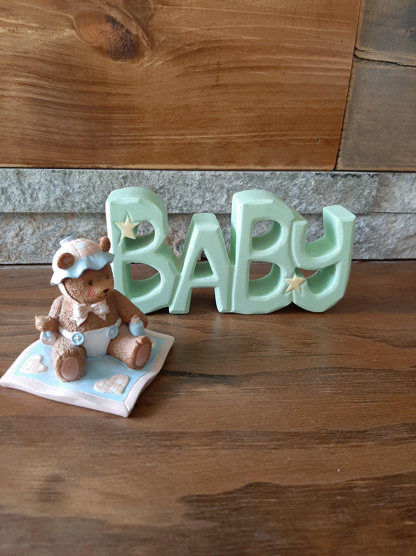 Vintage Teddy bear baby ornaments - wooden baby nursery ornaments