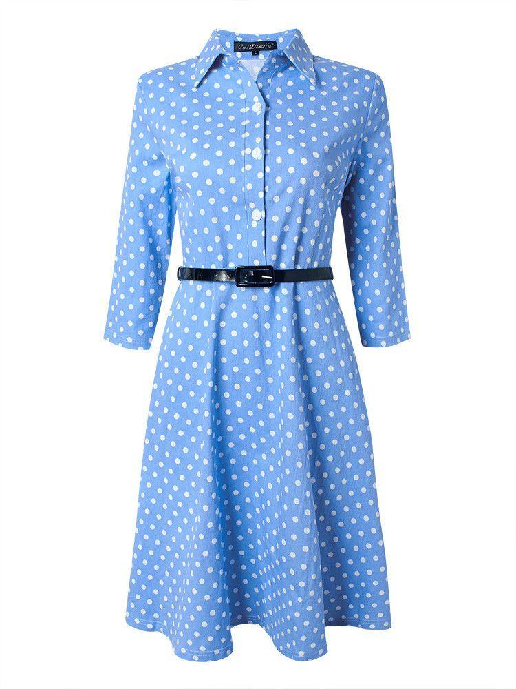 Women Lapel Polka Nine Points Sleevel Bodycon Dress