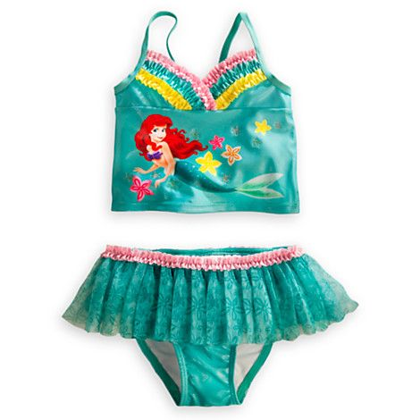 Disney Store Ariel Swimsuit Skirt Deluxe 3 pc Little Mermaid 5//6 NWT