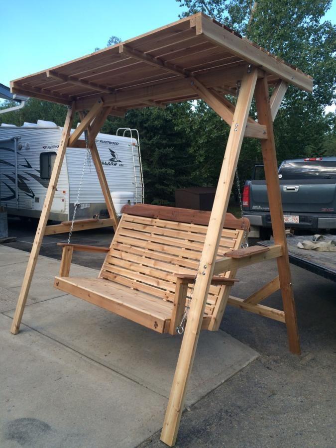 Cedar lawn swing with wood canopy - Woodworking creation by Sheri & Cedar lawn swing with wood canopy - Woodworking creation by Sheri ...