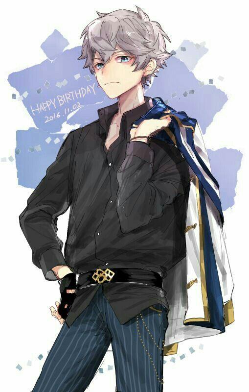 anime guy with black polo - gray silver