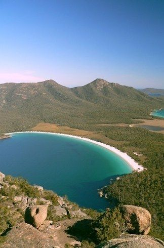 Wineglass Bay in Freycinet National Park is rated one of the top ten beaches IN THE WHOLE FRIGGIN' WORLD. | Here's Why Tasmania Is The World's Best Kept Secret