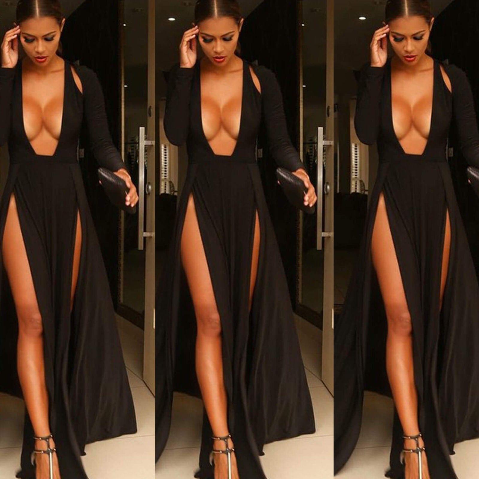 Sexy black satin dress with split and deep v cut