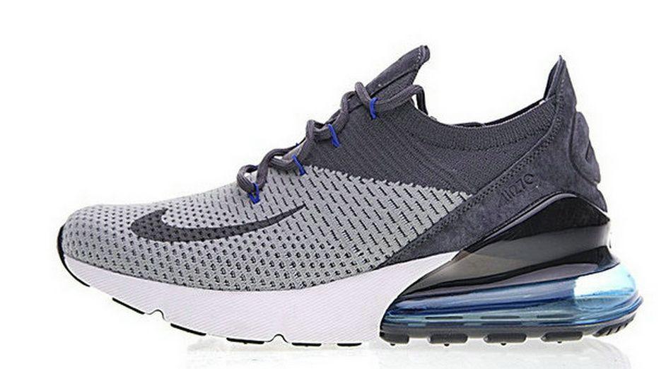 Nike Air 270 Flyknit Deep Grey Blue White Ah8050 003 2018 Official Sneaker f0abef60d