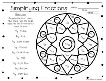 Simplifying Fractions Coloring Worksheet FREE
