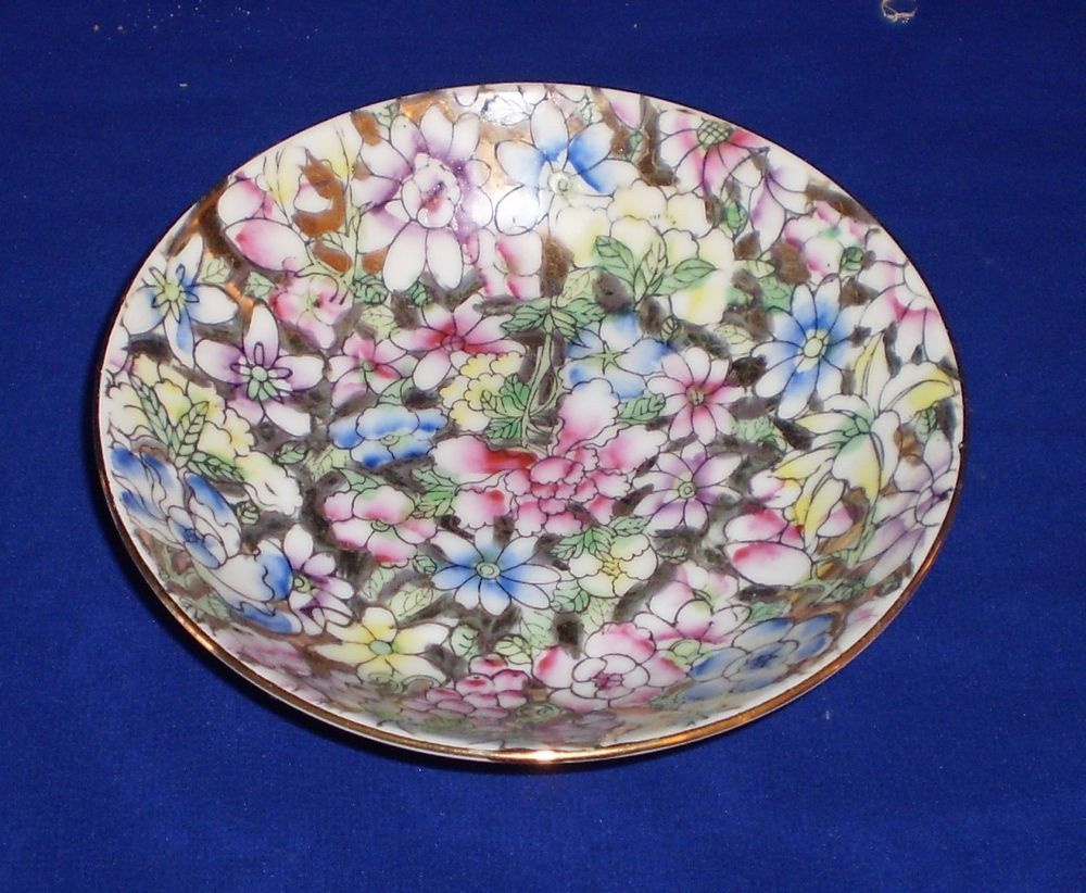 Decorated in Hong Kong Floral Pink Decorative Ring Dish Vintage Japanese Porcelain Ware