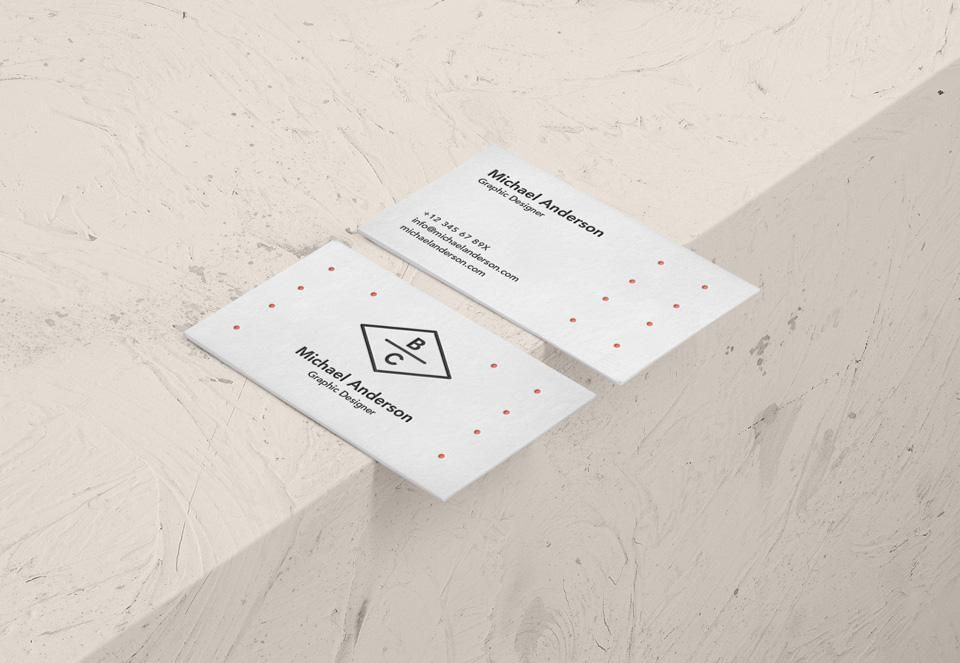 Free Isometric View Of White Psd Business Card Mockup