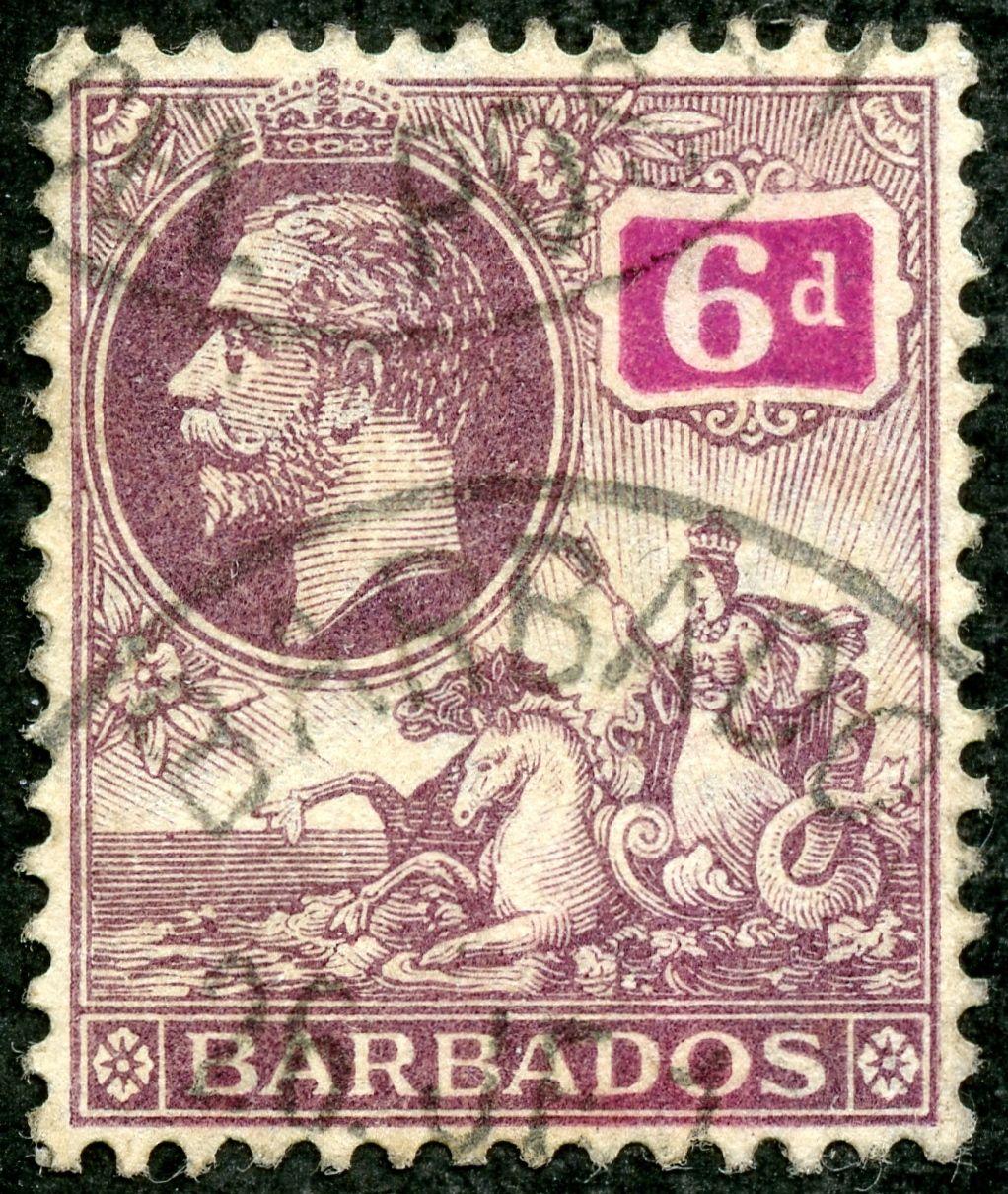 """Barbados 1912 Scott 123 6d violet & red violet """"George V & Seal of Colony"""""""