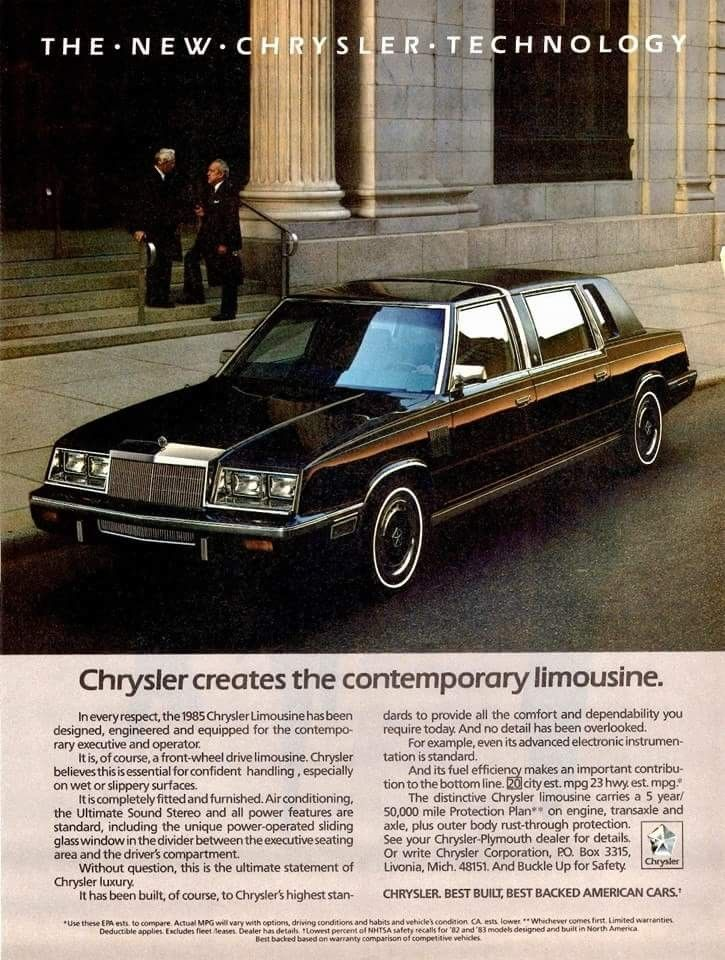 1985 Chrysler Limousine With Images Car Advertising Car Ads