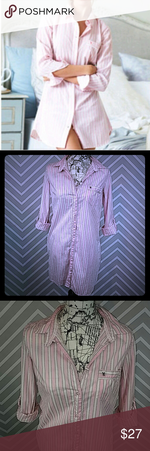 """Victoria's Secret Cotton Striped Sleep Shirt Reasonable offers always considered on items over $15. Bundle discount available. No trades. Don't let this ship lonely, bundle and save!  Like new! Only worn once! Pretty pink and white vertical striped sleep shirt. Button down, front pocket and collar. Mid thigh length and optional roll up and button sleeves. Victoria's Secret embossed buttons and black logo embroidery on pocket. Stretch fabric. Bust 19"""" flat, 34.5"""" length, 17"""" inseam. 100%…"""