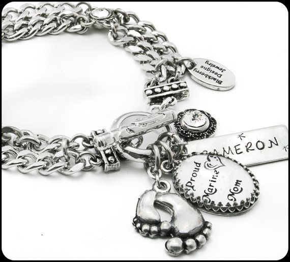 Military Mom Charm Bracelet Jewelry Personalized Army Navy Marines Air Force Coast Guard