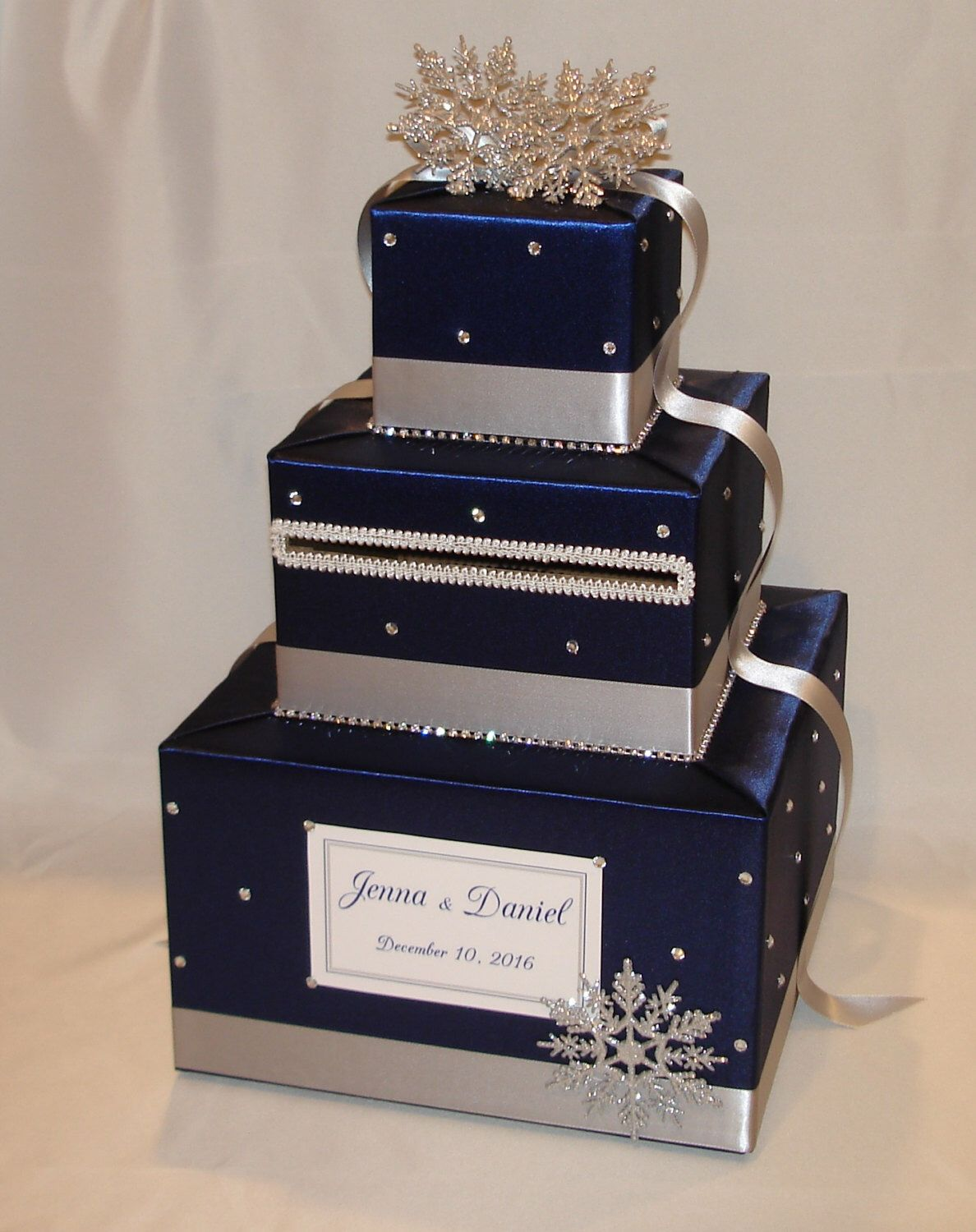 Navy Blue And Silver Winter Snowflake Theme Wedding Card Etsy Card Box Wedding Snowflake Wedding Theme Wedding Card Holder Box