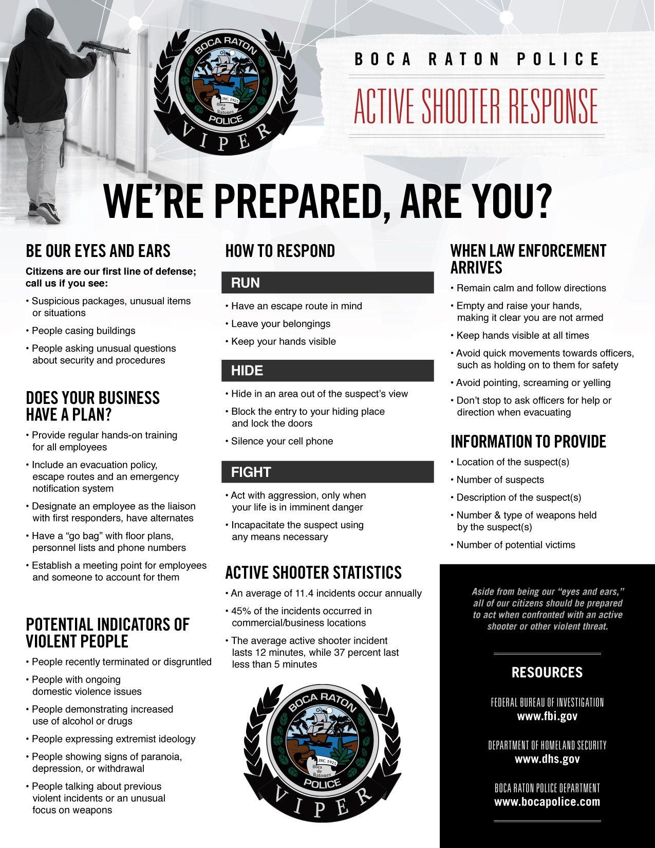 Boca raton police active shooter education run hide shoot