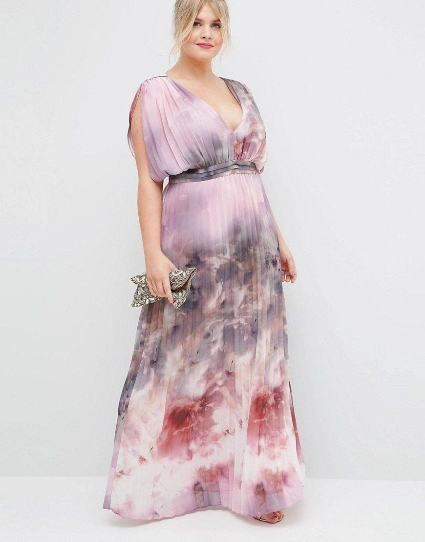 CURVE SALON Pleated Maxi Dress In Blurred Floral Print | Best ...