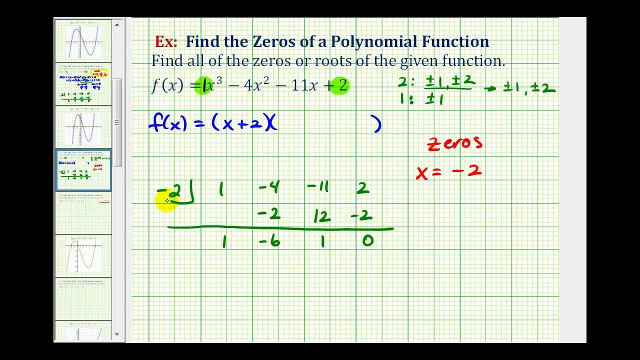 Ex 3 find the zeros of a polynomial function with