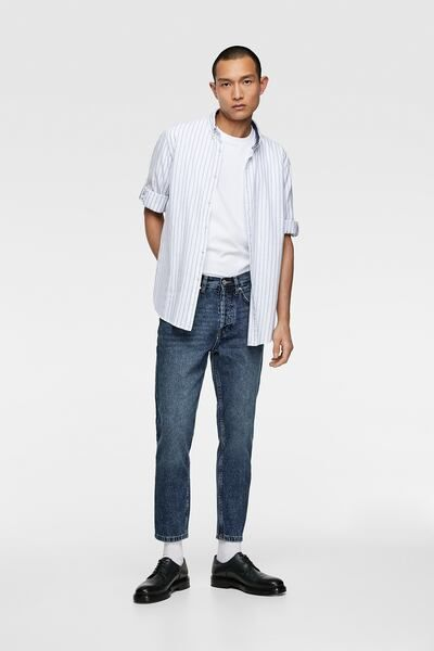 1a8cf6fb50 ZARA - Male - Striped tabbed sleeve shirt - White - S in 2019 ...