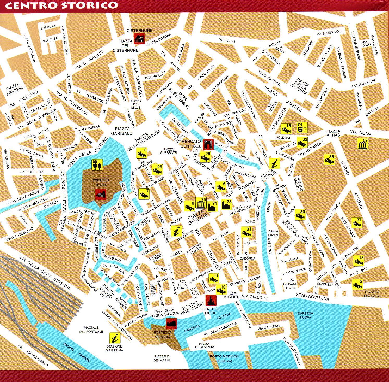 Livorno Tourist Map Livorno Italy Mappery
