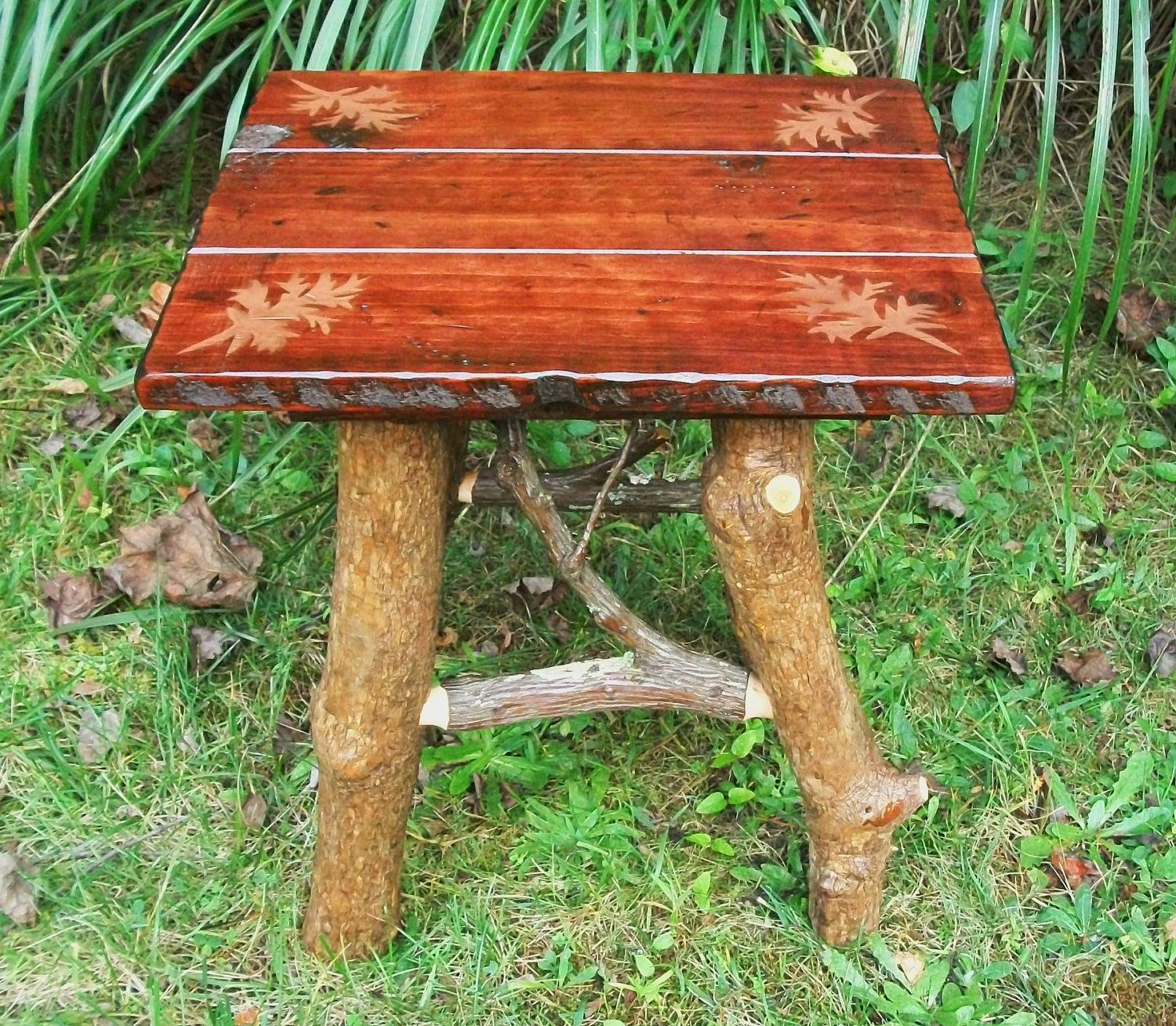 Rustic Handmade Pine And Rhodo End Side Table Leaf Design