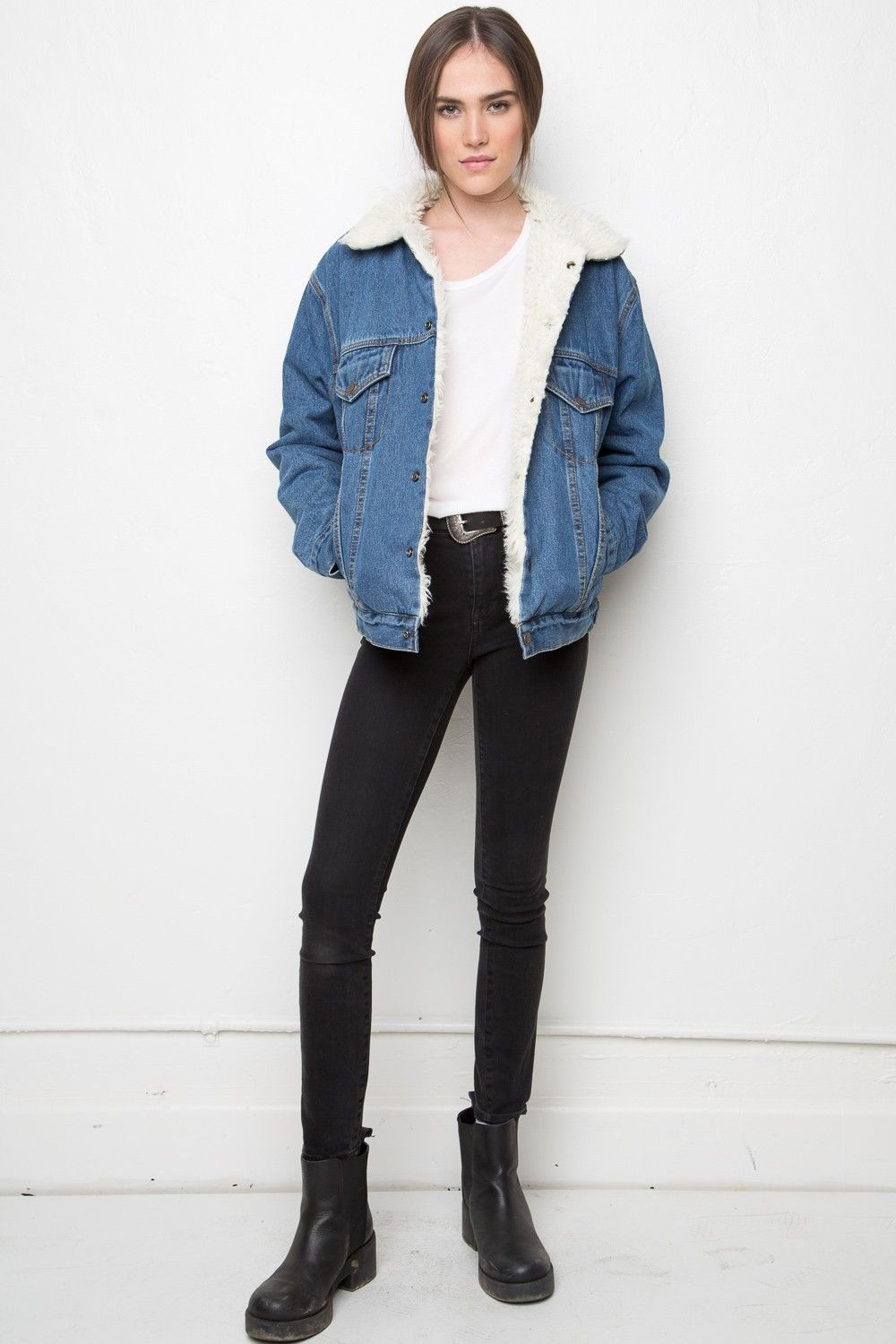 Brandy Melville Anri Fur Denim Jacket Outerwear Clothing