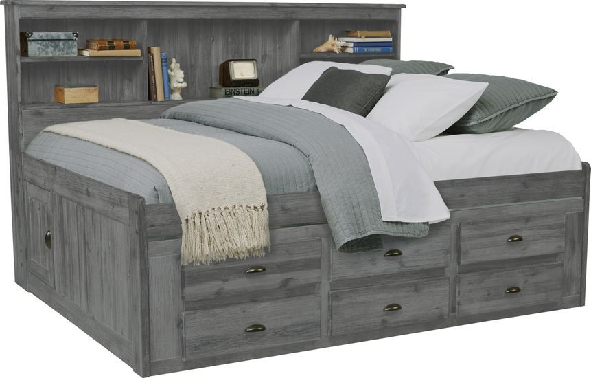 Portside Gray 3 Pc Full Daybed With Storage Rooms To Go In 2020 Daybed With Storage Full Daybed Full Size Daybed