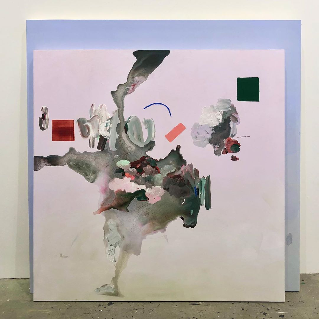 "Janna Watson on Instagram: ""🆕 drip 48x48 . . . . #pink #blue #painting #drips #abstract #abstractpainting #art #canadianart #canadianpainter #torontoart #miamiart…"""