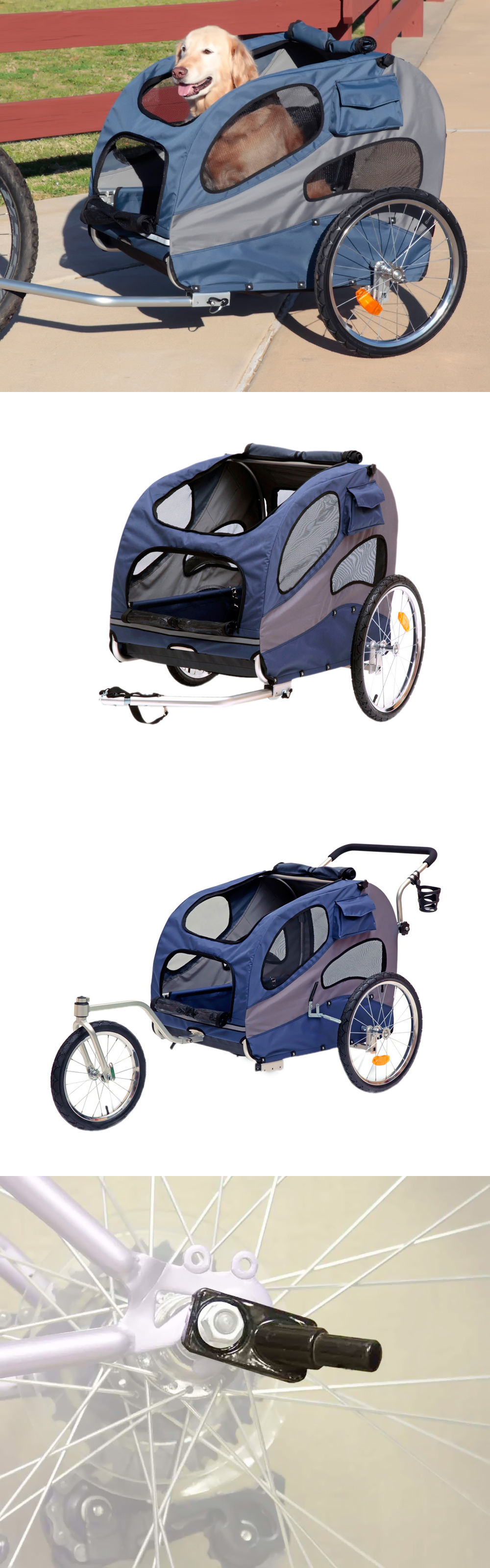 Bike baskets and trailers bicyle trailer pet tow behind blue