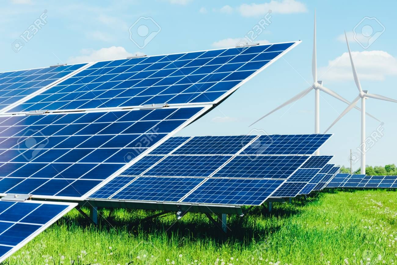 Solar Panel On Blue Sky Background Green Grass And Cloudy Sky Alternative Energy Concept Ad Sky Blue Sky Background Composition Photography Solar Panels