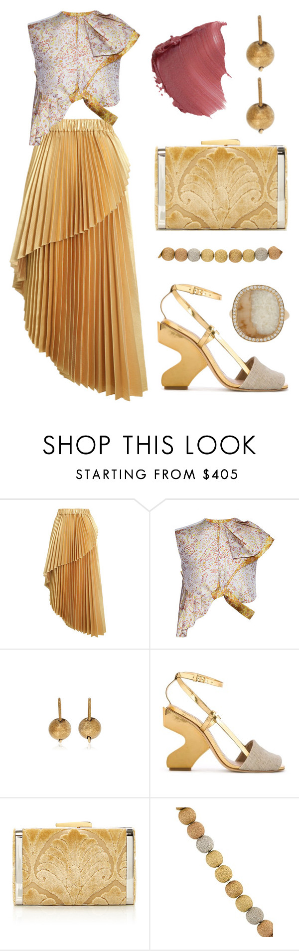 """""""Holiday Party - Metallics"""" by dominosfalldown ❤ liked on Polyvore featuring Zimmermann, Litkovskaya, J.W. Anderson, Tory Burch, Hayward, Carolina Bucci and Monique Péan"""