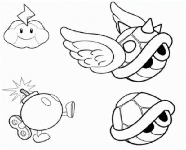 Koopa Shells Mario Bomb And Thundercloud Mario Coloring Page