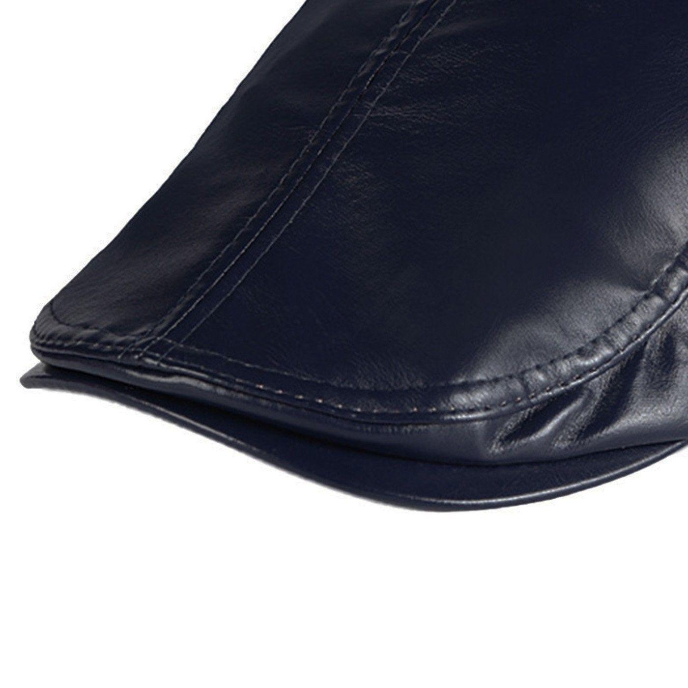 e4455d9baca Men PU Leather Duckbill Cap Vintage Ivy Newsboy Cap Flat Cap Cabby Hat -  Blue -