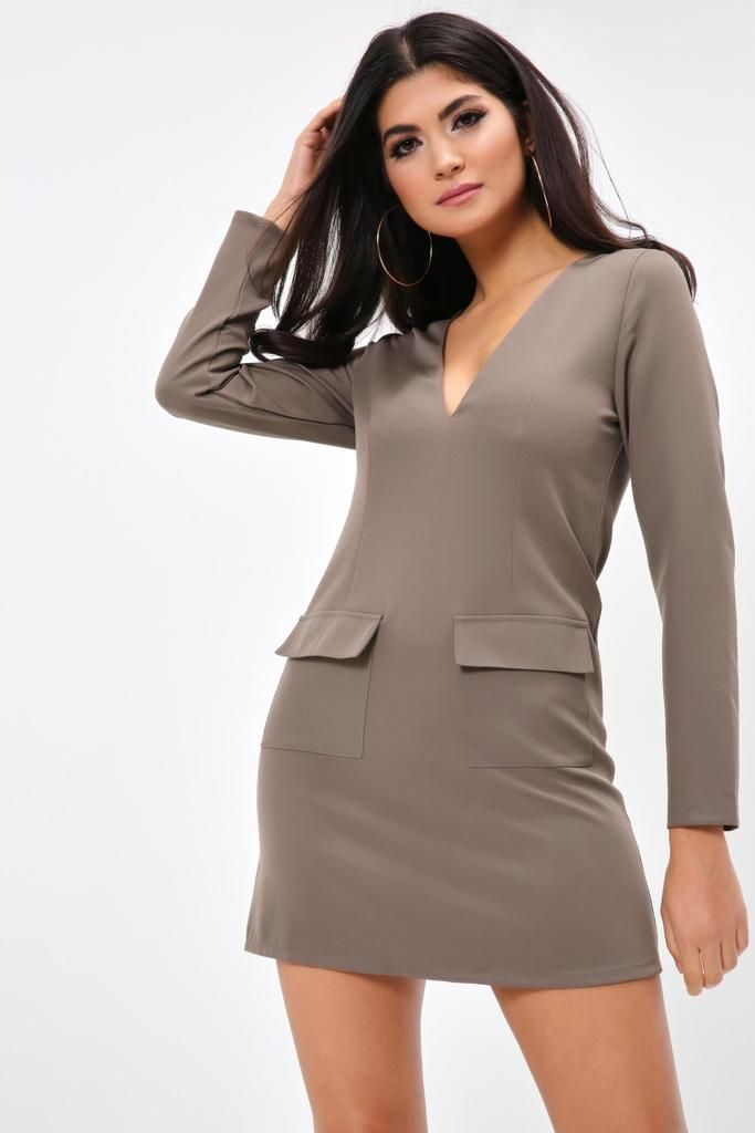 4568a27b6f Khaki Plunge Shift Dress With Pockets