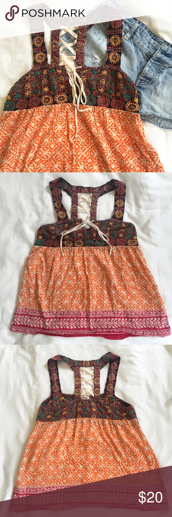 Free People - small - printed tank top, tie detail Free People patterned tank top with front tie and back detail. Multi colored, fun print! Size small. *** 15% off bundles of two or more listings *** Free People Tops Tank Tops