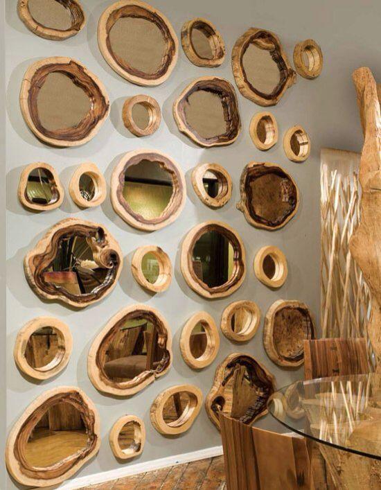 holzscheiben spiegel muss ich auch mal probieren wooden artwork holz m bel und holz ideen. Black Bedroom Furniture Sets. Home Design Ideas
