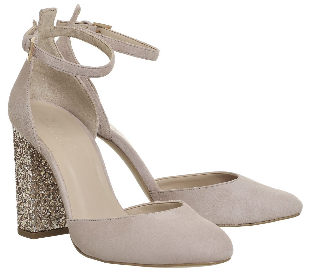 Office Hyacinth Mary Jane Heels Nude Suede Gold Glitter