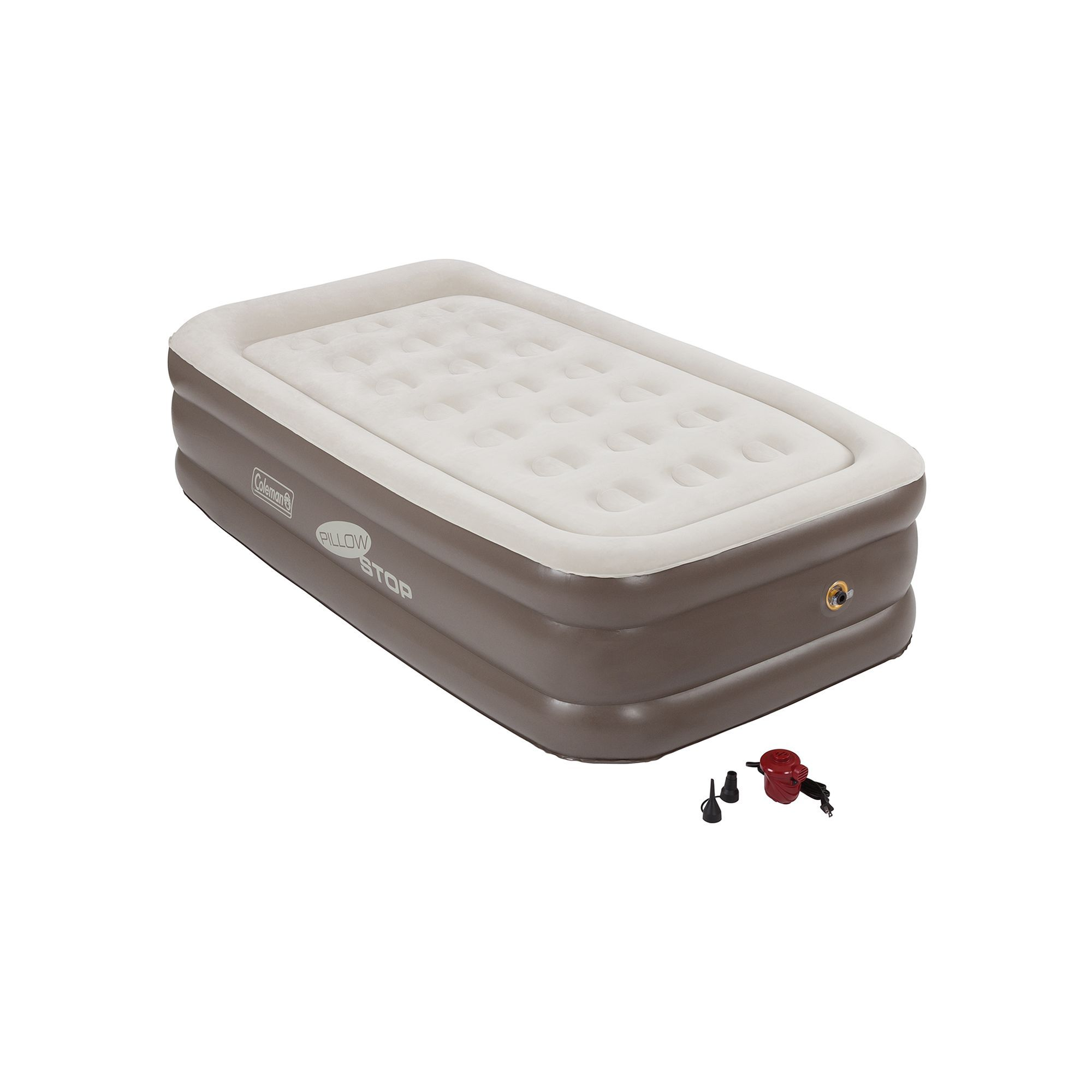 Coleman Quickbed Double-High Air Bed with Pump - Twin, Brown
