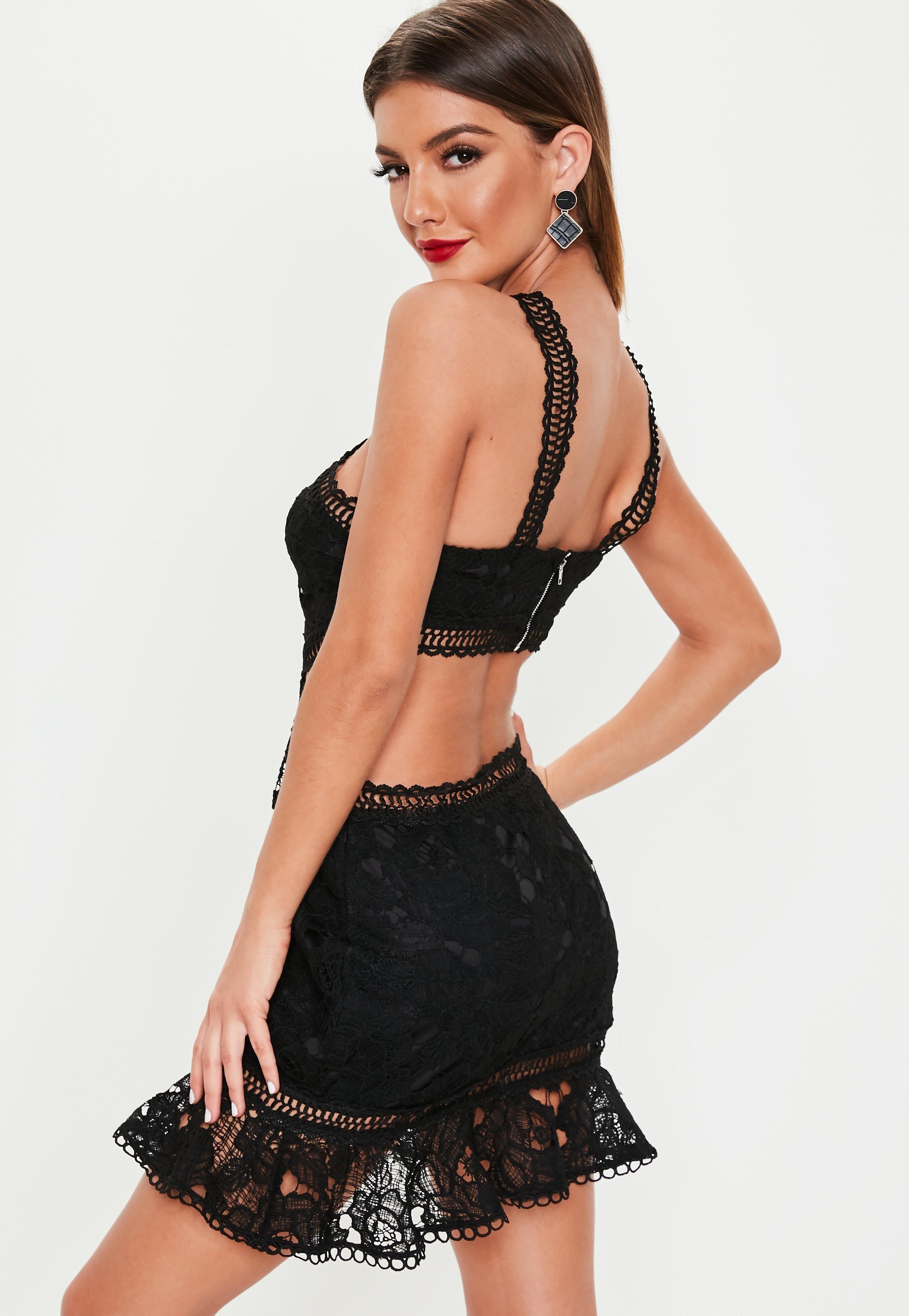 e78da4597b79 Black Cut Out Lace Trim Frill Hem Mini Dress #Sponsored #Lace, #SPONSORED, # Trim, #Black