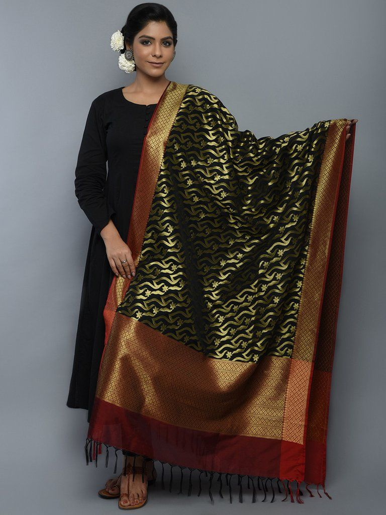 5d63669f92 Golden Black Maroon Art Silk Handwoven Banarasi Dupatta | Anarkali ...