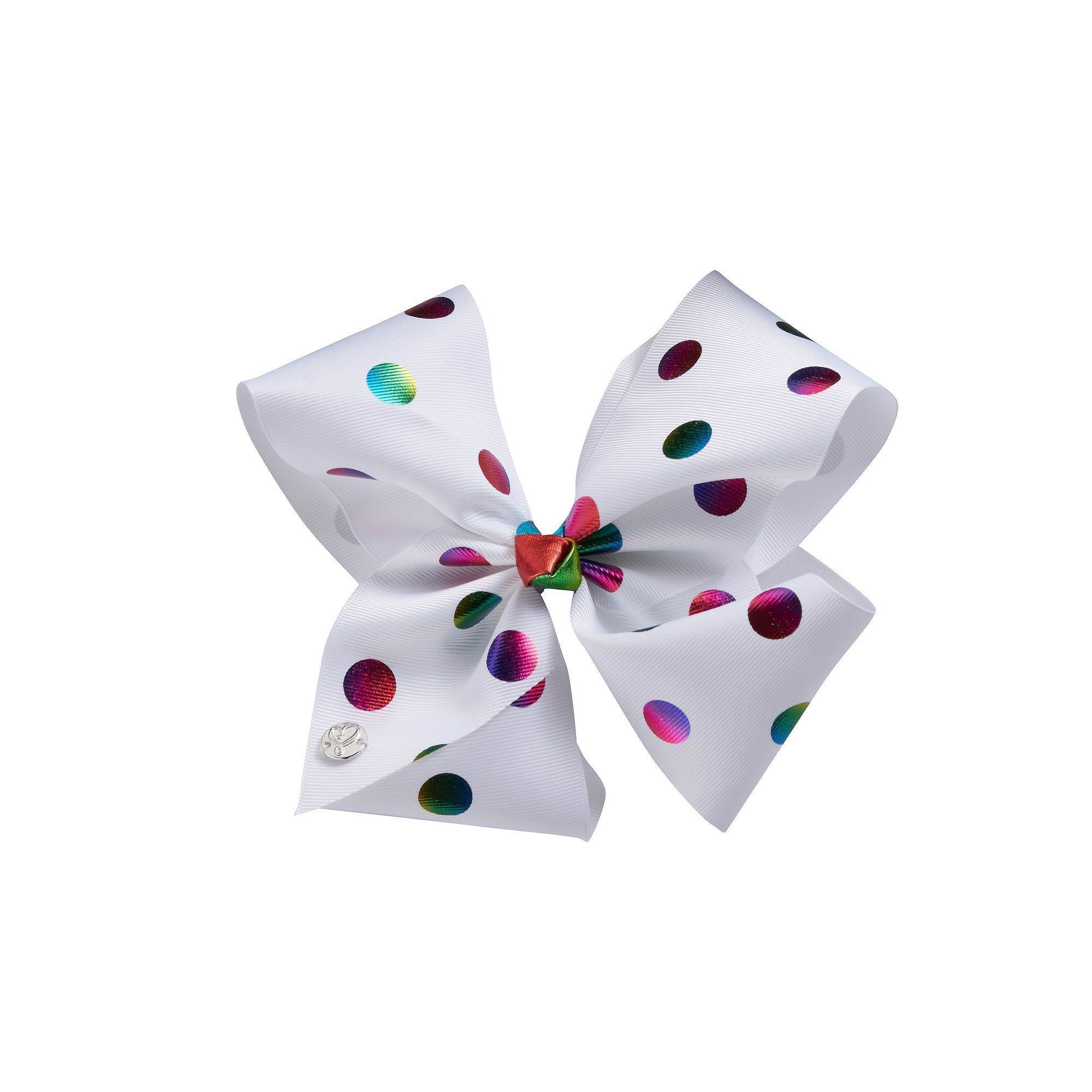 Girls 4 16 JoJo Siwa Rainbow Foil Dot Bow White