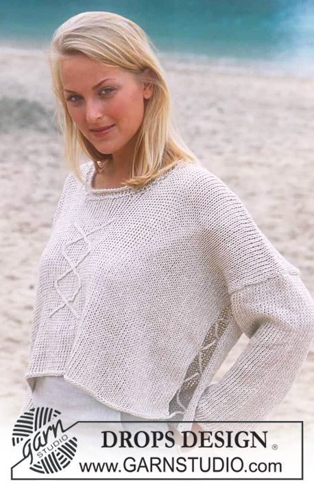 Short, wide DROPS jumper in Bomull-Lin with crochet in the sides and ...