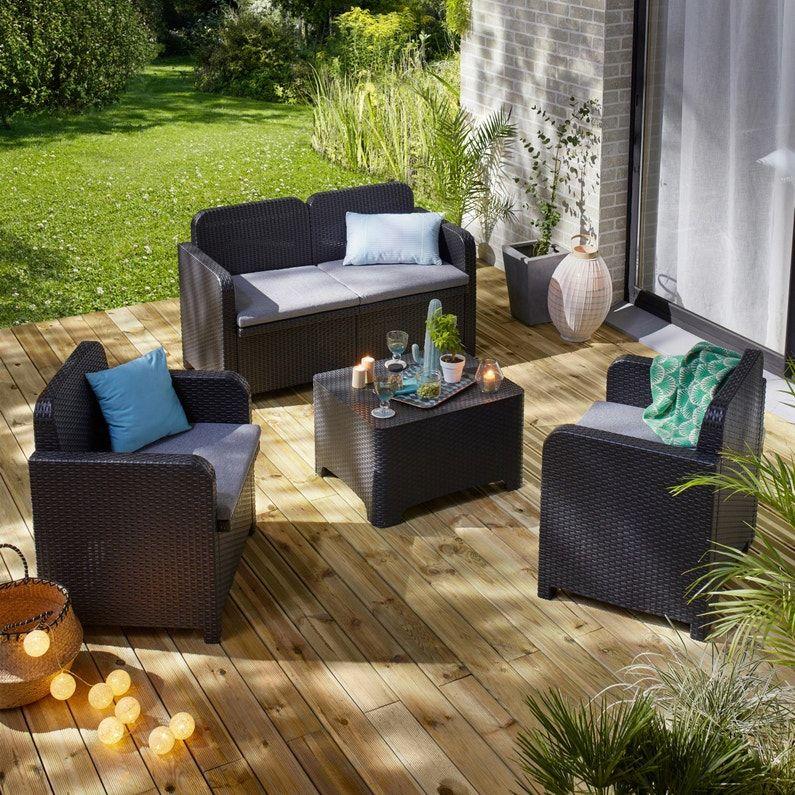 Salon Bas De Jardin Sorrento Resine Injectee Anthracite 4 Personnes Leroy Merlin En 2020 Salon De Jardin Encastrable Design Salon Salon De Jardin