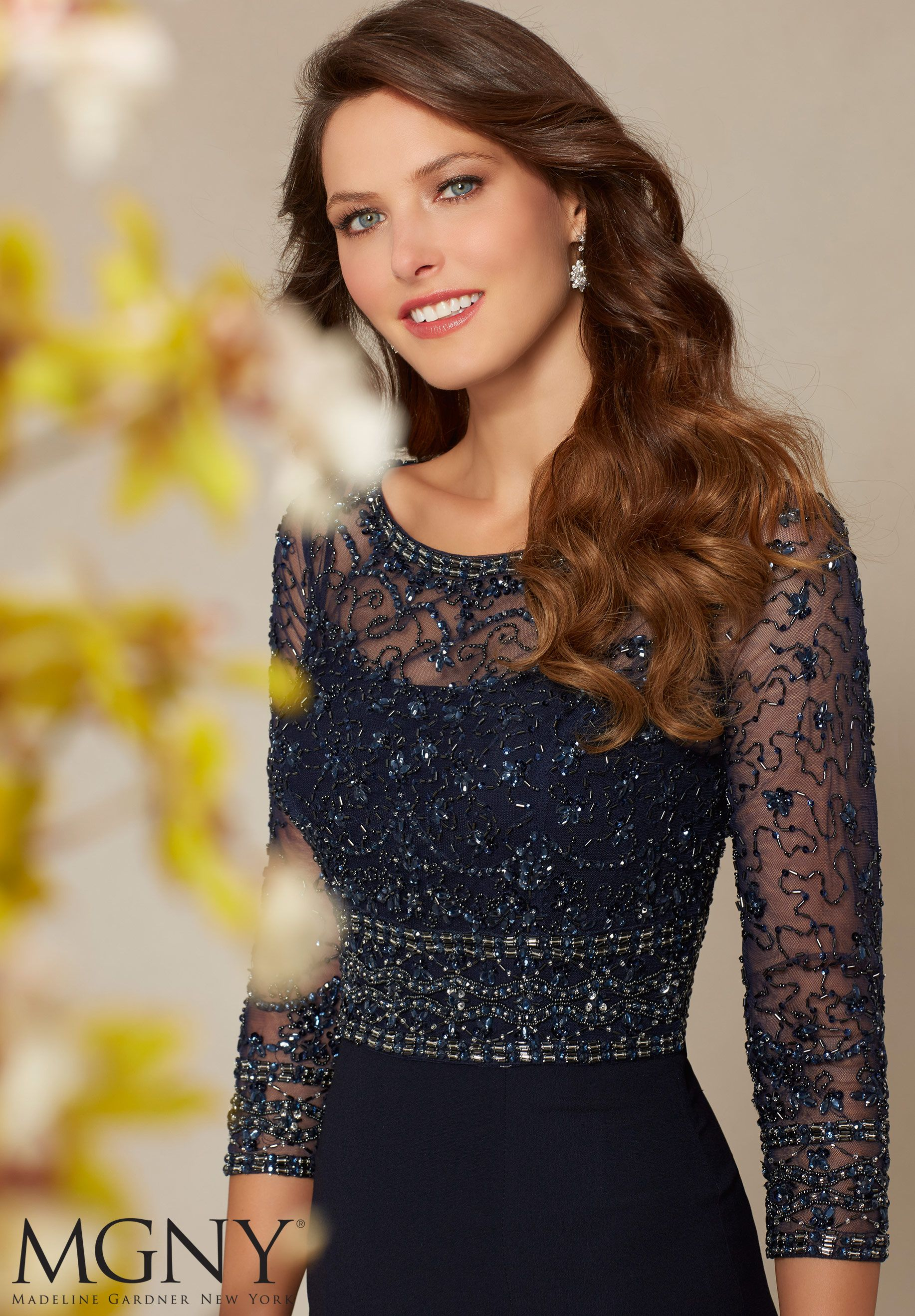 Beaded net button back jacket with crepe dress evening gownmother