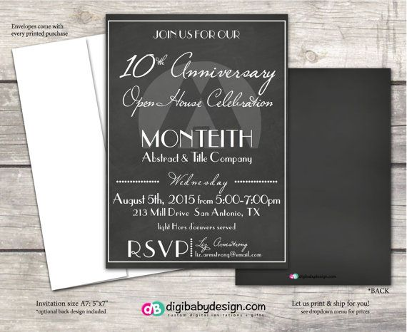 Chalkboard Open House event invitation printable by DigiBabyDesign - open house invites