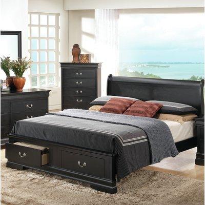 Andover Mills Sansome Low Profile Storage Sleigh Bed King Size Bedroom Furniture Black Bedroom Furniture Set King Bedroom Furniture