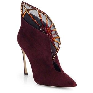 Sergio Rossi Atalia Embellished Suede Booties in Marsala